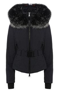 Утепленная куртка с поясом и меховой отделкой Odri