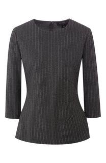 Пуловер в полоску с укороченным рукавом St. John