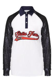 Хлопковое поло с длинным рукавом и пайетками Stella Jean