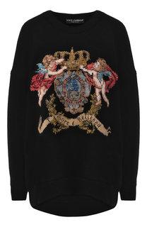 Кашемировый пуловер с вышитым принтом Dolce & Gabbana