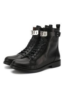 Высокие кожаные ботинки на шнуровке BOSS