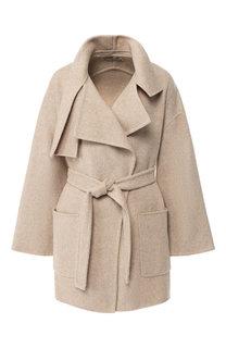 Шерстяное пальто с поясом и отложным воротником Vince