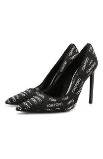 Текстильные туфли Logomania на шпильке Tom Ford