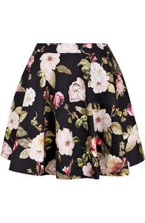 Хлопковая мини-юбка с цветочным принтом Alice + Olivia