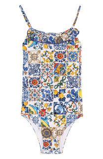 Слитный купальник с оборкой Dolce & Gabbana