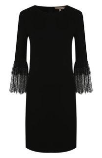 Однотонное мини-платье с кружевной отделкой на рукаве Michael Kors Collection