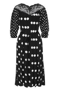 Шелковое платье-миди с поясом в горох Marc Jacobs