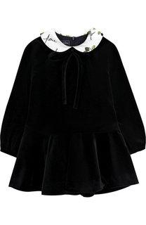 Вельветовое мини-платье с контрастным воротником Oscar de la Renta