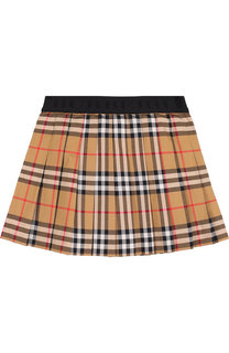 Плиссированная мини-юбка из хлопка Burberry