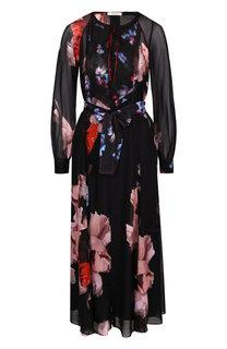 Шелковое платье-миди с поясом и принтом Dorothee Schumacher