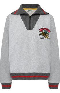 Хлопковый пуловер с контрастной отделкой и логотипом бренда Kenzo