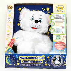 Мягкая игрушка-cветильник Лунный мишка, 38 см, со звуком, МУЛЬТИ-ПУЛЬТИ