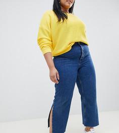 Выбеленные джинсы прямого кроя с разрезами ASOS DESIGN Curve Recycled Florence - Синий