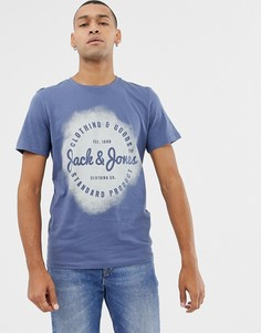Футболка с логотипом и принтом Jack & Jones - Темно-синий