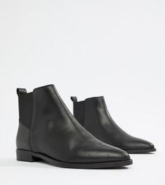Кожаные ботинки челси для широкой стопы ASOS DESIGN - Черный