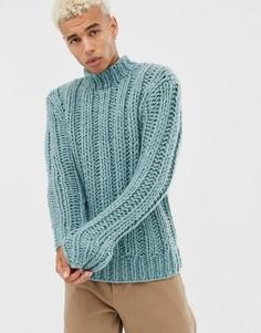 Голубой свитер ручной вязки ASOS DESIGN - Синий