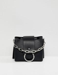 Черная структурированная сумка через плечо с металлическим кольцом ALDO - Черный