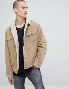 Вельветовая куртка на меховой подкладке Lee - Бежевый