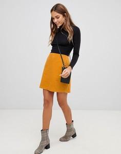 Вельветовая юбка New Look - Желтый