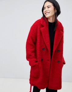 Красное двубортное полупальто с карманами Bershka - Красный