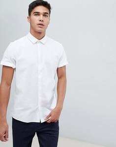 Белая узкая оксфордская рубашка с короткими рукавами ASOS DESIGN - Белый