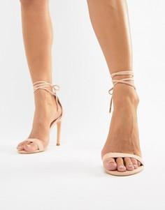 Розовые босоножки на каблуке с завязкой на щиколотке Glamorous - Розовый