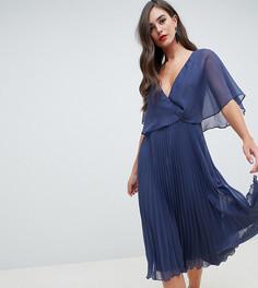 Платье миди с рукавами клеш и плиссированной юбкой ASOS DESIGN Tall - Синий