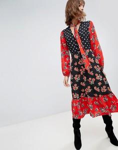 Платье макси с завязкой и принтом Neon Rose - Черный