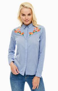Синяя хлопковая рубашка с цветочной вышивкой Sugarhill Boutique