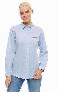 Синяя хлопковая рубашка с длинными рукавами Sugarhill Boutique