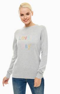 Серый хлопковый джемпер с декоративной вышивкой Sugarhill Boutique