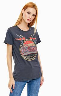 Серая хлопковая футболка с принтом и вышивкой Pinko