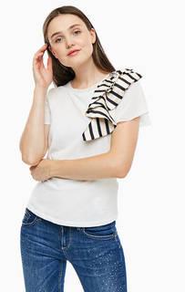 Белая хлопковая футболка с объемной нашивкой Liu Jo