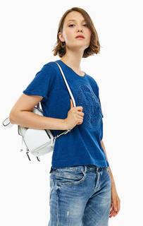 Синяя хлопковая футболка Guess