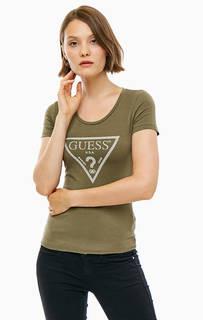 Хлопковая футболка с логотипом бренда Guess
