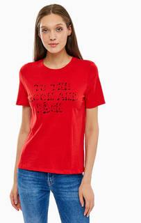 Хлопковая футболка с принтом и вышивкой Only