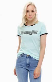 Хлопковая футболка мятного цвета с принтом Wrangler