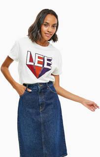 Белая хлопковая футболка с принтом Lee