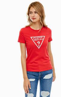 Красная футболка с декоративной отделкой Guess