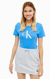 Синяя хлопковая футболка с принтом Calvin Klein Jeans