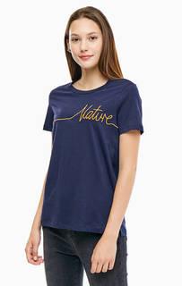 Синяя хлопковая футболка с короткими рукавами Vero Moda