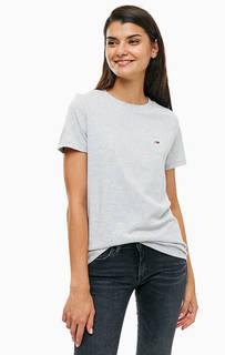 Хлопковая футболка серого цвета Tommy Jeans