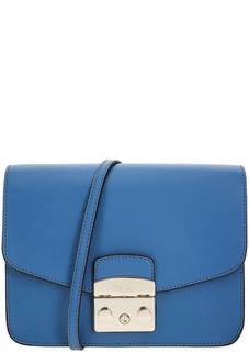 Маленькая синяя сумка из гладкой кожи Metropolis Furla