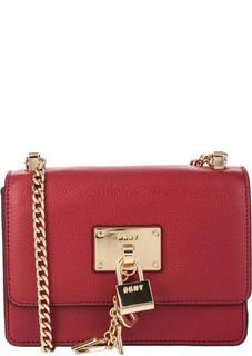 Красная кожаная сумка с откидным клапаном Dkny