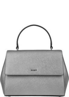 Маленькая серебристая сумка из сафьяновой кожи Dkny