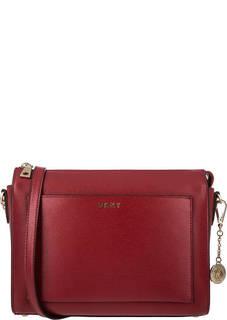 Красная кожаная сумка через плечо Dkny