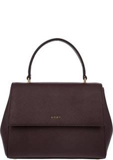 Маленькая бордовая сумка из сафьяновой кожи Dkny