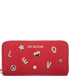 Кожаный кошелек с металлическим декором Love Moschino