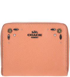 Кожаный кошелек с металлическим декором Coach