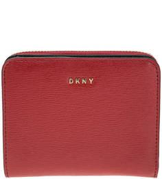 Красный кошелек из натуральной кожи Dkny